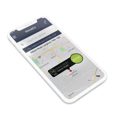 Mobile View of Heathrow Minicabs app